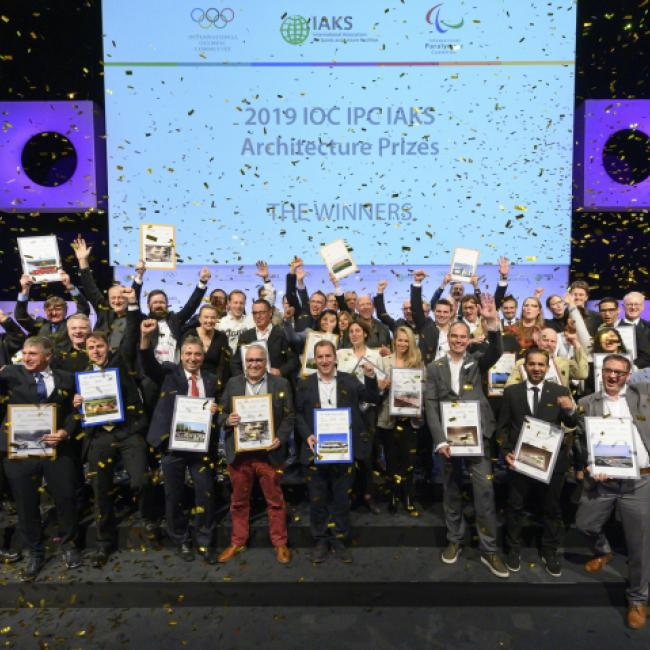 2019 Winners IOC IPC IAKS architecture prizes_group photo_Koelnmesse